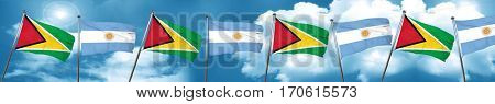 Guyana flag with Argentine flag, 3D rendering
