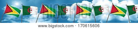 Guyana flag with Algeria flag, 3D rendering