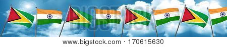Guyana flag with India flag, 3D rendering