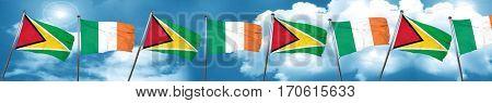 Guyana flag with Ireland flag, 3D rendering