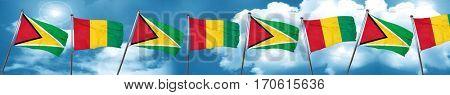 Guyana flag with Guinea flag, 3D rendering