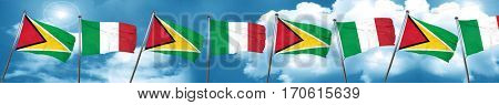 Guyana flag with Italy flag, 3D rendering