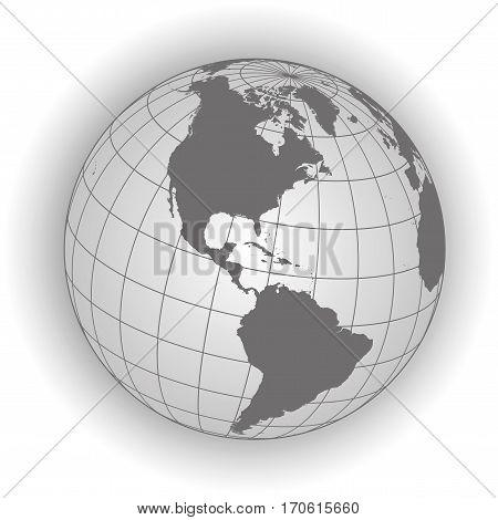 North America Map In Gray Tones