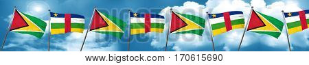 Guyana flag with Central African Republic flag, 3D rendering