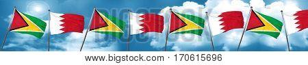 Guyana flag with Bahrain flag, 3D rendering