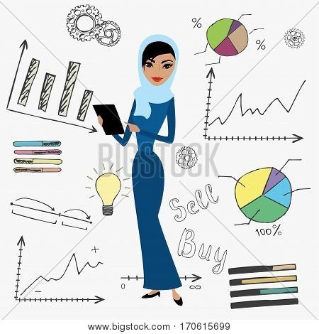 Cartoon Business Woman And Doodle Finance Set