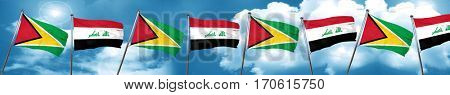 Guyana flag with Iraq flag, 3D rendering