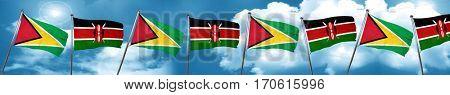 Guyana flag with Kenya flag, 3D rendering