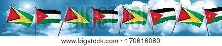 Guyana flag with Jordan flag, 3D rendering