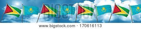 Guyana flag with Kazakhstan flag, 3D rendering