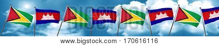 Guyana flag with Cambodia flag, 3D rendering