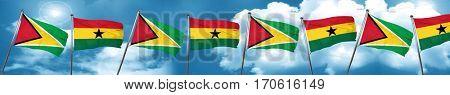 Guyana flag with Ghana flag, 3D rendering