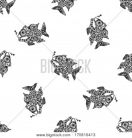 Seamless Pattern With Fish,hand Drawn