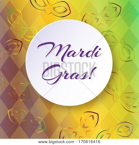 Bright vector background with masks and diamonds on Mardi Gras Vector decorative background with masks and round for text. For Mardi Gras