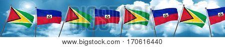 Guyana flag with Haiti flag, 3D rendering
