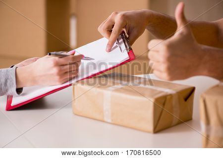 Delivery man delivering parcel box