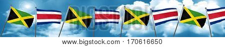 Jamaica flag with Costa Rica flag, 3D rendering