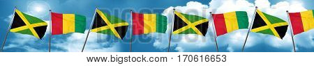 Jamaica flag with Guinea flag, 3D rendering