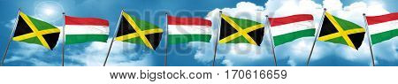 Jamaica flag with Hungary flag, 3D rendering