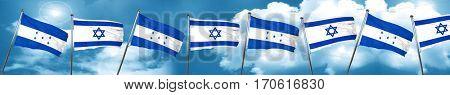 Honduras flag with Israel flag, 3D rendering