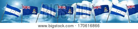 Honduras flag with Cayman islands flag, 3D rendering