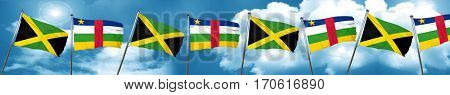 Jamaica flag with Central African Republic flag, 3D rendering