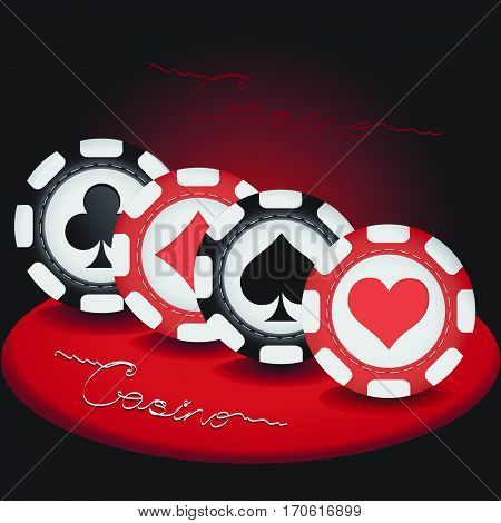 Casino. Poker chips. Casino, gambling roulette, realistic stacks on red-black background with text. Vector illustration.