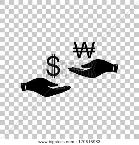 Currency exchange from hand to hand. Dollar and South Korea Won. Black icon on transparent background.