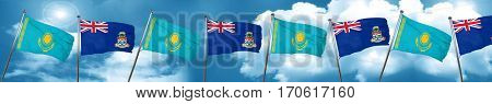 Kazakhstan flag with Cayman islands flag, 3D rendering
