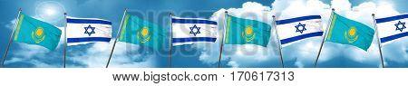 Kazakhstan flag with Israel flag, 3D rendering