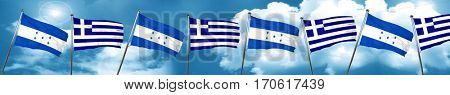 Honduras flag with Greece flag, 3D rendering