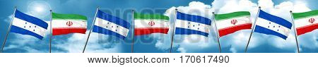 Honduras flag with Iran flag, 3D rendering