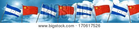 Honduras flag with China flag, 3D rendering
