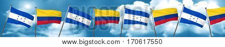 Honduras flag with Colombia flag, 3D rendering