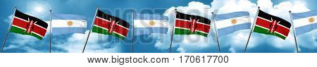 Kenya flag with Argentine flag, 3D rendering
