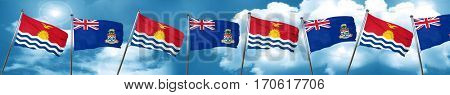 Kiribati flag with Cayman islands flag, 3D rendering