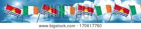 Kiribati flag with Ireland flag, 3D rendering