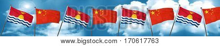 Kiribati flag with China flag, 3D rendering