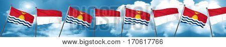 Kiribati flag with Indonesia flag, 3D rendering