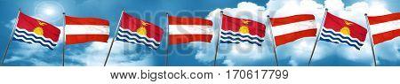 Kiribati flag with Austria flag, 3D rendering