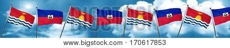 Kiribati flag with Haiti flag, 3D rendering