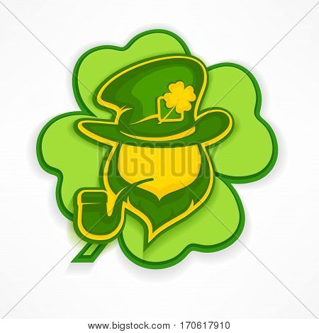 Leprechaun With Pipe On Green