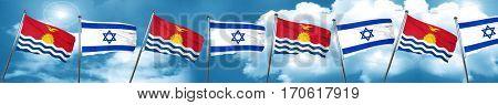 Kiribati flag with Israel flag, 3D rendering