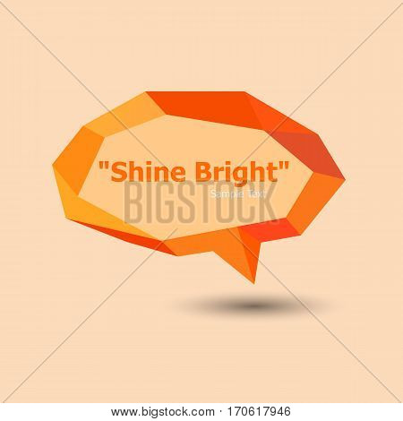 Orange polygonal geometric speech bubble, stock vector