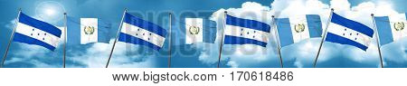 Honduras flag with Guatemala flag, 3D rendering