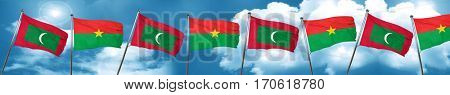 Maldives flag with Burkina Faso flag, 3D rendering