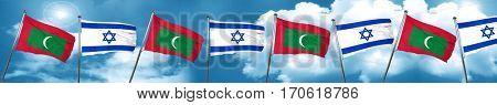 Maldives flag with Israel flag, 3D rendering