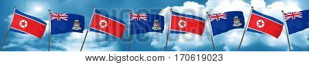 North Korea flag with Cayman islands flag, 3D rendering