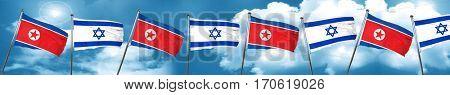 North Korea flag with Israel flag, 3D rendering