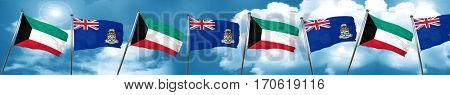 Kuwait flag with Cayman islands flag, 3D rendering